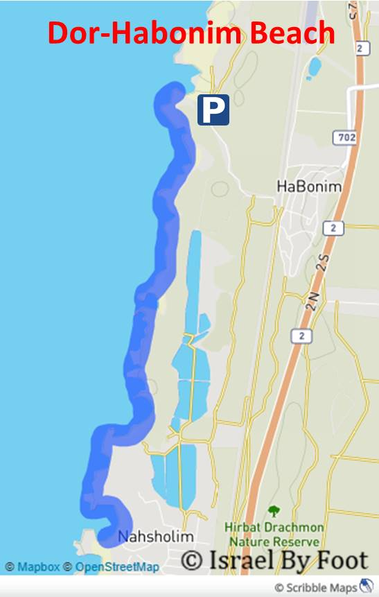Dor Habonim Beach Map.png