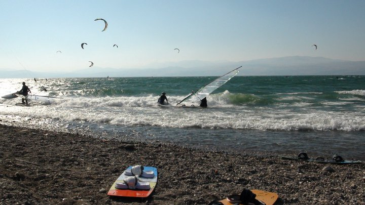 The wild unspoint Ashalim Beach on the sea of Galilee