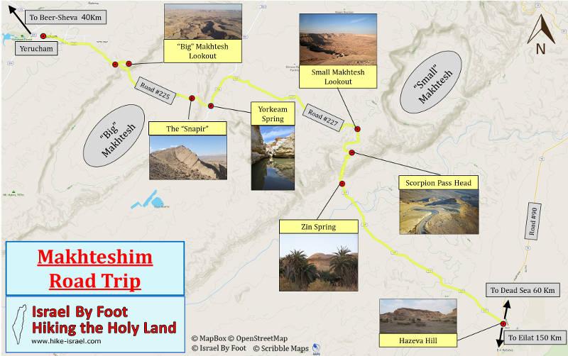 Makhteshim (Craters) Land road Trip map
