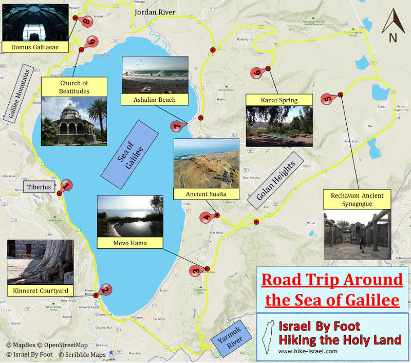 Touring map - Israel By Foot - Road Trip Around the of Galilee
