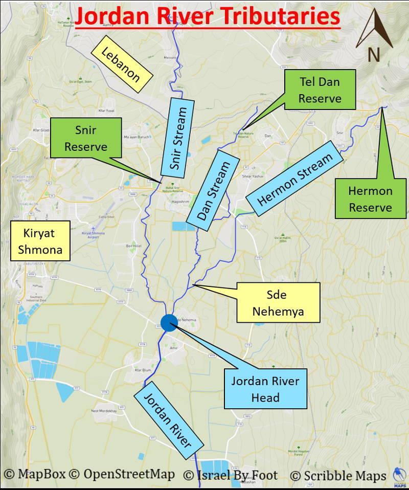 Map of the area of the Jordan River tributaries