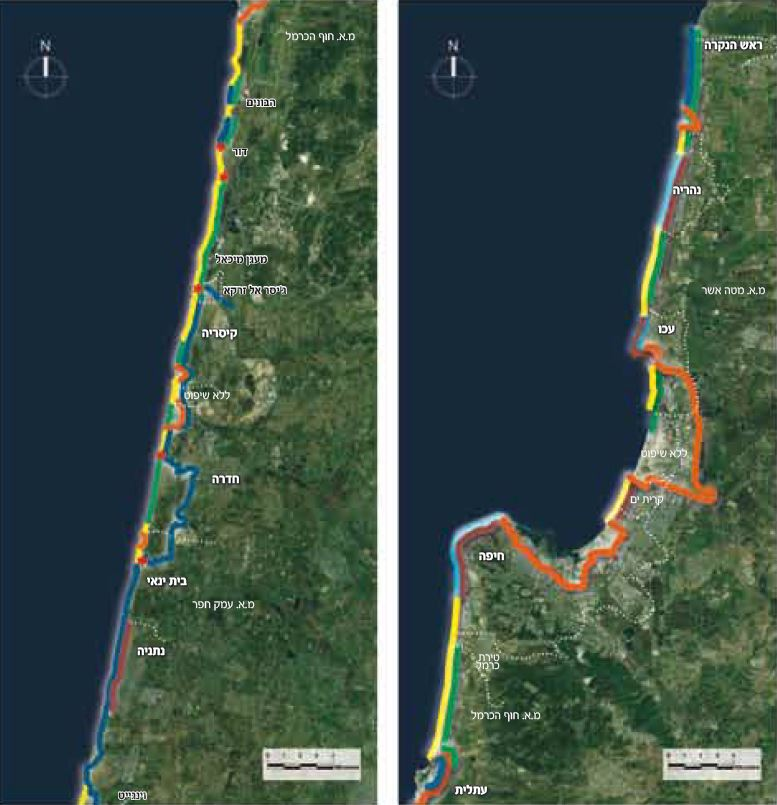Map of the new Israel mediterranean coast trail