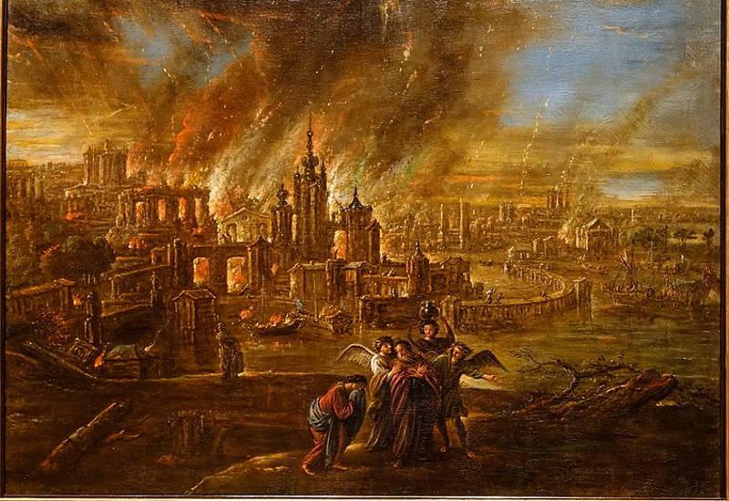 Sodom and Gomorrah afire, by Jacob Jacobsz. de Wet d. J., probably Köln, c. 1680, oil on canvas - Hessisches Landesmuseum Darmstadt - Darmstadt, Germany