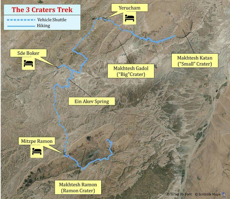 5 Days Negev inn to inn trek overview map