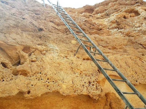 The ladder at the foot of Nakeb el Yahud