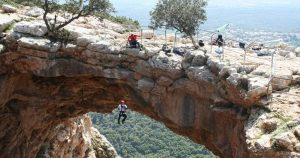 Rappelling Keshet Cave
