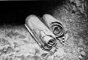 A scrolls as it was found near Qumran