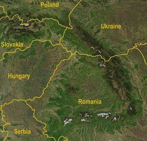 תמונת לווין של הרי הקרפטים