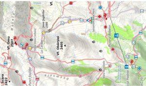 מפה טופוגרפית הר אומו רומניה OMU