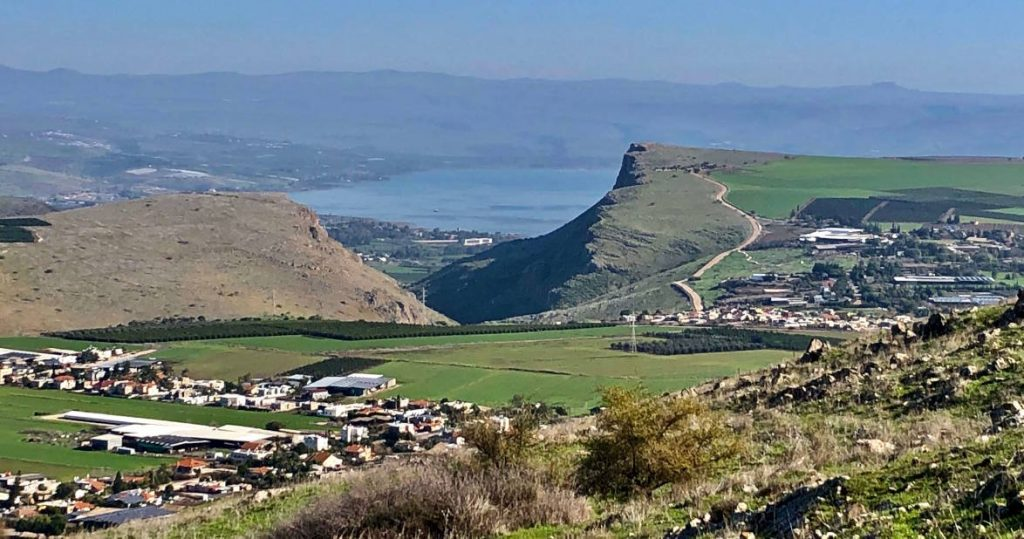 Sea of Galilee viewed from the peak of Hoarns of Hattin