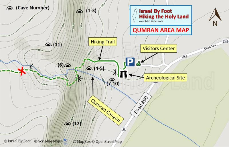 Qumran national park and caves map
