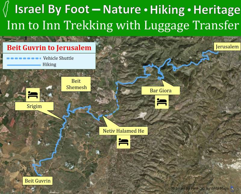 Map of the trek from Beit Guvrin to Jerusalem